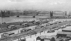 Blick über die Zollanlagen / Haken von Hamburg Rothenburgsort - Zollhäuser, Zollabfertigung der der Elbe vor Hamburg - Elbbrücken.