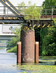 Ziegelträger der Eisenbahnbrücke über den Billbrookanal - junge Birken wachsen aus den Mauerfugen; Fotos aus dem Hamburger Stadtteil Billbrook.