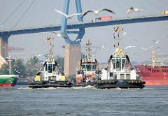 Schlepper auf ihrer Fahrt auf dem Köhlbrand unter der Köhlbrandbrücke - ein Schwarm Möwen umfliegt die Arbeitsschiffe.