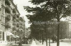 Altes Foto - Wohnhäuser und Geschäfte im Lehmweg in Hamburg Eppendorf.
