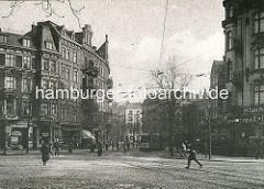 Blick von der Eppendorfer Landstrasse in den Eppendorfer Baum - historisches Bild, altes Foto ca. 1910.