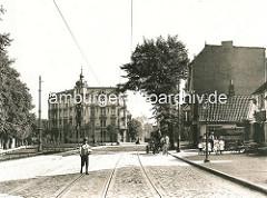 Blick vom Eppendorfer Marktplatz in die Martinistrasse - altes Bild von 1900.