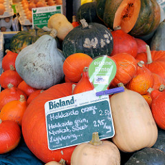 Bio-Wochenmarkt in Hamburg Winterhude - Winterhuder Marktplatz. Gemüsestand mit Bioland-Kürbis, Schild eigene Ernte - Hokkaido orange, grün.