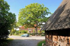 Dach einer Strohdachkate / Reetdach - Blick zur Friedenseiche und Schule an der Dorfstrasse im Ortsteil Henstedt in Henstedt-Ulzburg