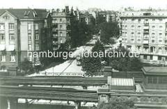 Luftaufnahme vom Eppendorfer Baum in Hamburg Eppendorf - Blick über die Gleisanlagen der Hochbahn.
