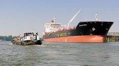 Zwei Tankschiffe in der Rethe in Hamburg Wilhelmsburg -  das Tankschiff Emstank 4 in Fahrt; am Ufer das Tankschiff CIELO DI GAETA.