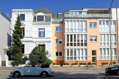 Mehrstöckige Wohnhäuser - Etagenhäuser in Hamburg Eppendorf; Neubau / Altbau, Neu + Alt.