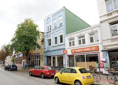 Eppendorfer Landstrasse - leerstehende Gründerzeitgebäude, Geschäfte vom Abriss bedroht; Neubauplanungen im Hamburger Stadtteil Eppendorf.