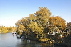 Billbrooker Liebigbruecke Blick auf die Bille. Bäume mit Herbstlaub Motorboote.