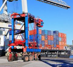 Portalhubwagen am Heck des Containerfrachters CAP RICARDA am Athabskakai im Hamburger Hafen.