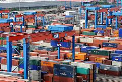 Container auf dem HHLA Terminal Altenwerder, Portalkran - Contaierlager