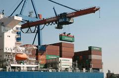 Containerladung eines Frachters löschen - HHLA Container Terminal Burchardkai CTB.