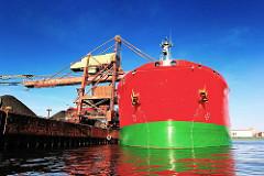 Bug des Schüttgutfrachters SKS TYNE am Salzgitterkai des Sandauhafens in Hamburg Altenwerder - der Frachter hat eine Länge von 243m und eine Breite von 42m.
