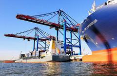 Schiffsbug + Schiffsname des Frachters  CMA CGM LAPEROUSE; der Containerfeeder CHARLOTTA wird am Burchardkai beladen - Bilder aus dem Hamburger Hafen.