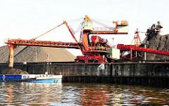 Arbeit im Hamburger Hafen - Krananlage mit Förderband - gelagertes Schüttgut auf der Freifläche.