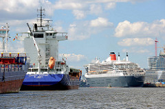 Frachtschiffe an den Dalben in der Norderelbe - im Hintergrund das Kreuzfahrtschiff am Kreuzfahrtterminal der Hamburger Hafencity.