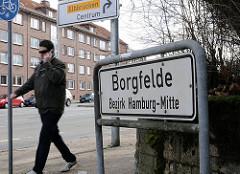Hamburger Stadtteile - Borgfelde - Stadtteilschild der Stadteilgrenze