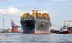 Das Frachtschiff MSC FAUSTINA hat eine Breite von 48m und eine Länge von 366m. Der Frachter hat eine Tragfähigkeit von 146148t und kann 12562 TEU Standardcontainer transportieren.