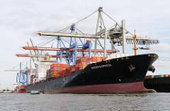 Der Containerfrachter SAIGON EXPRESS der Reederei HAPAG LLOYD  liegt am Terminal Burchardkai - das 260 m lange Schiff hat eine Breite von 32m und eine Tragfähigkeit von 50 869 t.