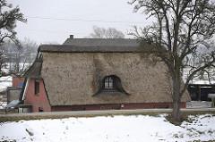Reetdachhaus mit Dachfenster am Elbdeich.