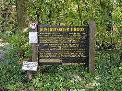 Holztafel Duvenstedter Brook, Naturschutzgebiet - Schonrevier für Rot und Damwild.