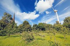 Wiese mit Apfelbäumen im Hamburger Stadtteil Altenwerder - Kirchturm der St. Gertrudkirche; Windrad, 198m hoch - WIndkraftanlagen in Hamburg.