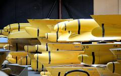 Lagerung unterschiedlicher Schiffsmodelle - Formen vom Schiffsbug / Wulstbug - Hamburgische Schiffbau-Versuchsanstalt Hamburg Barmbek Nord.