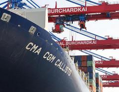 Schriftzug CMA CGM CALLISTO Containerbrücken