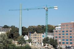 Neubau bei der Grossen Elbstrasse, Baustelle am Sandberg - Beachclub an Altonaer Elbufer.