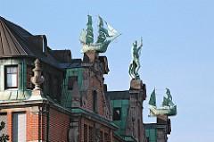 Kontorhaus Hamburger Alstadt Skulpturen Dach Globushof.