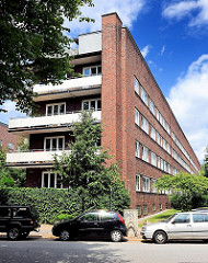 Architektur in Hamburg - Bilder aus der Jarrestadt - Backsteinfassaden, Laubengang - Jarrestrasse.