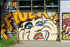 Graffiti an der Feuerwache der Freiwilligen Feuerwehr Altona  -- Stadtteilfotos aus der STernschanze.