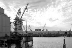 Getreideheber im Kuhwerder Hafen - Blick auf das Grevenhofer Ufer, Lagerhäuser - Hamburg Steinwerder.