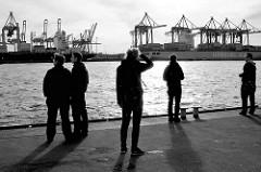 Blick vom Schiffsanleger Hamburg Neumühlen über die Elbe zum Container Terminal Burchardkai in Hamburg Waltershof.