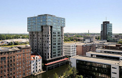 Luftaufnahme Architektur in Hamburg Harburg  - Bürogebäude am Bahnhofskanal.