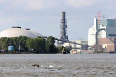Baustelle des Kraftwerks am Ufer der Süderelbe von Hamburg Moorburg.