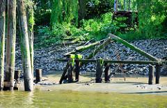 Alter Schiffsliegeplatz in der Billwerder Bucht von Hamburg Rothenburgsort. Die Balken sind mit Gräsern bewachsen, die Treppe ist nicht mehr nutzbar. Holzdalben und verrottete Steganlage.