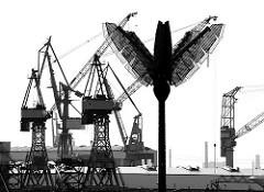 Palme des Parc Fiction - Kräne der Werft Blohm + Voss - Bilder aus Hamburg St. Pauli.