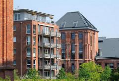 Historische Industriearchitektur und moderne Neubauten - Bahrenpark im Hamburger Stadtteil Bahrenfeld, Bezirk Hamburg Altona.
