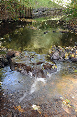 Hamburger Bäche und Flüsse - die Mellingbek fliesst über Steine.