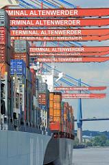 Containerschiffe unter den Containerbrücken des Terminals Altenwerder im Hamburger Hafen.