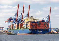 Mit Unterstützung zweier Schlepper wendet der Containerfrachter Hyundai Courage vor der  Hafenanlage des Terminals Hamburg Altenwerder.