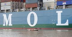 Ein Schiff der japanischen MOL-Reederei im Hamburger Hafen.