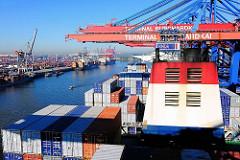 Blick über das Deck des Containerschiffs CMA CGM Christophe Colomb - hinter dem Schornstein Containerkräne des Terminals Burchardkai.