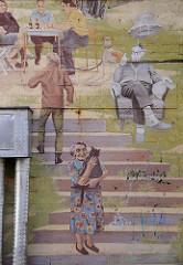 Wanddekor - Wandmalerei, Detail am Bunker Loewenstrasse, Falkenried.