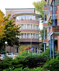 Runde Stirnseite eines Wohnblock der Franckschen Häuser in Hamburg Dulsberg.