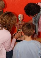 Kindermuseum Hamburg - Achtern Born - Erwachsene erkären Kindern die Innenansicht eines Menschen.