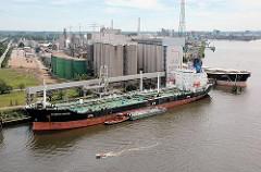 Blick auf die Ölmühle an der Süderelbe, Neuhöfer Kanal in Hamburg Wilhelmsburg - zwei Massengutfracher liegen an den Kais. Ein Motorboote fährt auf der Süderelbe Richtung Elbe.