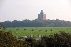 Pferdewiese auf der Hamburger Insel Neuwerk - Pferdeherde weidet vor dem alten Leuchtturm / Festungsturm, der 1310 fertiggestellt wurde.