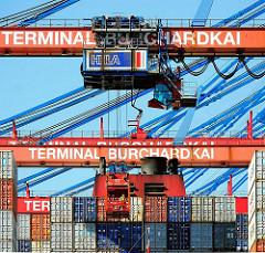 Containerkran über der Ladung der CMA CGM Christophe Colomb  - der Kranführer sitzt in einer gläsernen Kanzel.